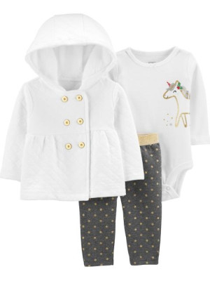 Carter's Set 3 piese Unicorn, cardigan, pantaloni si body