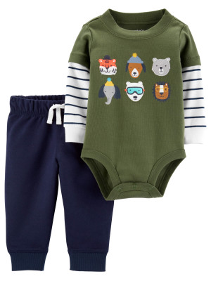 Carter's Set 2 piese Animale pantaloni si body
