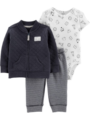 Carter's Set 3 piese Animalute cardigan, pantaloni & body