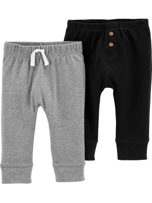 Carter's Set 2 piese pantaloni gri/nergu