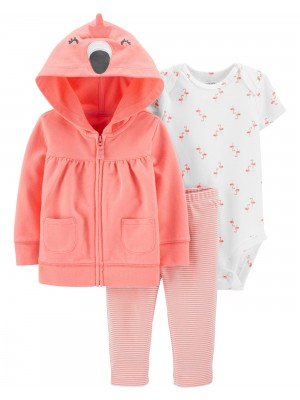 Carter's Set 3 piese hanorac pantaloni si body Flamingo