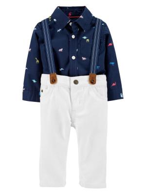 Carter's Set 3 Piese pantaloni, body tip cămașă si bretele Dino