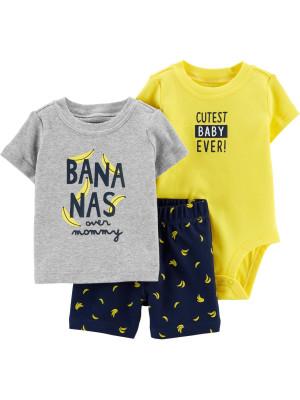 Carter's Set 3 Piese bebe tricou, body si pantaloni scurti Banana