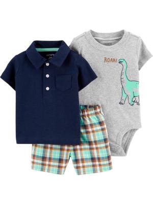 Carter's Set 3 Piese tricou polo, body & pantaloni scurti Dinozaur