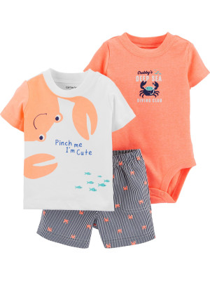 Carter's Set 3 Piese bebe tricou, body si pantaloni scurti Crab