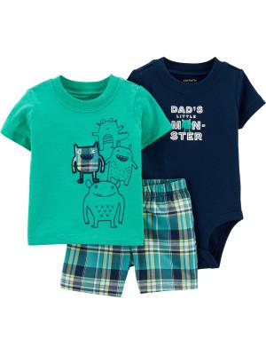 Carter's Set 3 Piese body, tricou & pantaloni Monstrulet