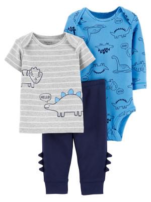 Carter's Set 3 piese pantaloni, tricou si body Dinozaur