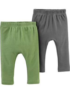 Carter's Set 2 piese pantaloni verde/gri 100% Bumbac Organic