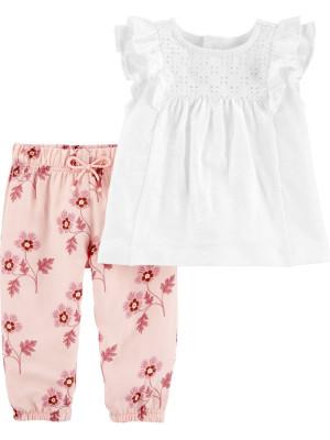 Carter's Set 2 Piese pantaloni florali & tricou