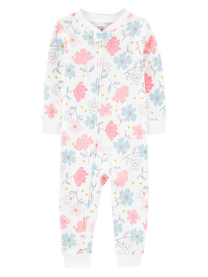 Carter's Pijama alba cu flori 100% Bumbac Organic