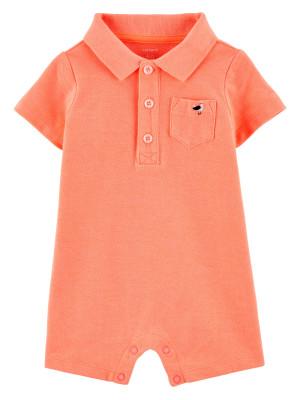 Carter's Salopetă bebelus tip cămașă portocaliu neon