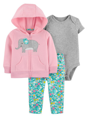 Carter's Set 3 piese hanorac, pantaloni si body Elefant