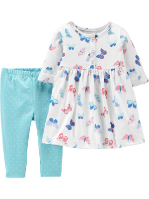 Carter's Set 2 Piese bebe rochie si colanți Fluturi