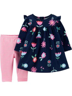 Carter's Set 2 Piese rochie & colanți roz