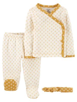 Carter's Set 3 piese bebelus pantaloni top si bentita Floral