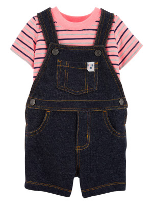 Carter's Set 2 Piese bebelus salopeta si tricou cu dungi