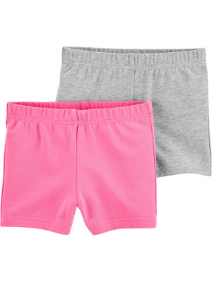 Carters Set 2 piese pantaloni scurti roz si gri