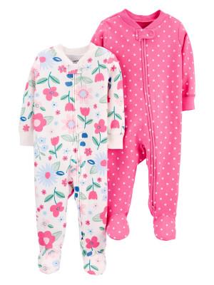 Carter's Set 2 piese pijamale bebelus Flori si buline