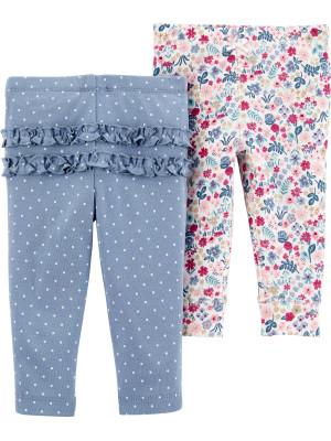 Carter's Set 2 Piese pantaloni lungi cu volanase buline/flori
