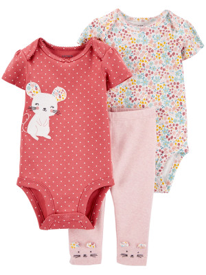 Carter's Set 3 Piese bebe 2 body si pantaloni Soricel