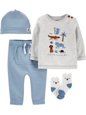 Carter's Set 4 piese bebelus pantaloni bluza caciula si sosete Animale