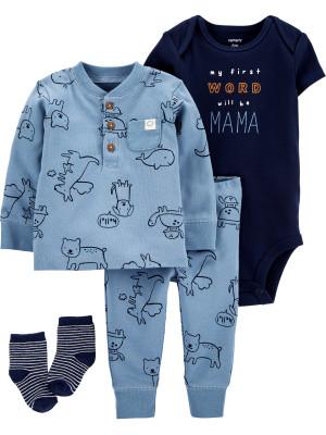 Carter's Set 4 piese bebelus pantaloni bluza body si sosete Cangur