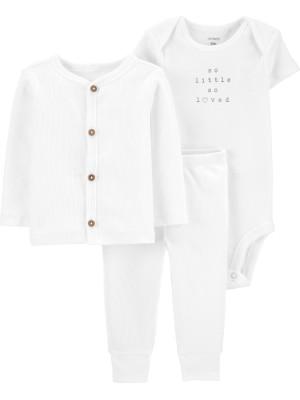 Carter's Set 3 piese bebe cardigan pantaloni si body alb
