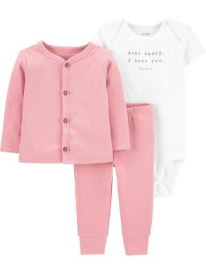Carter's Set 3 piese bebe cardigan pantaloni si body roz