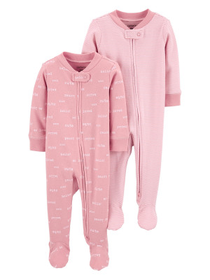 Carter's Set 2 piese pijamale bebe text si dungi