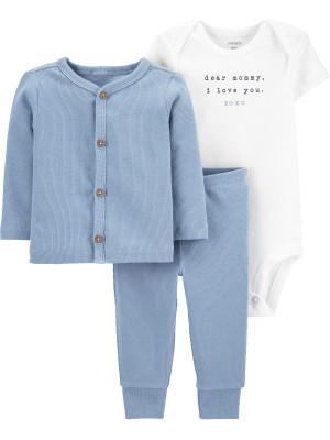 Carter's Set 3 piese bebelus cardigan pantaloni si body albastru