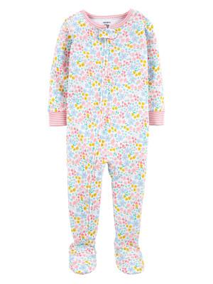 Carter's Pijama bebelus roz cu fermoar si floricele