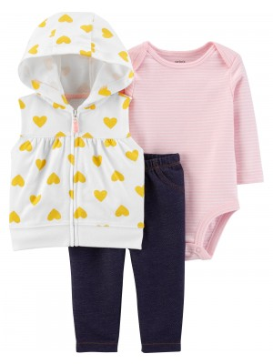 Carter's Set 3 piese bebelus vesta, pantaloni si body Inimioare