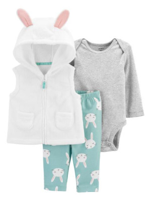 Carter's Set 3 piese bebelus vesta pantaloni si body