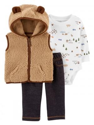 Carter's Set 3 piese bebelus pantaloni, body si vesta Urs