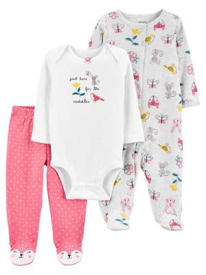 Carter's Set 3 Piese bebe pijama body si pantaloni Soricei