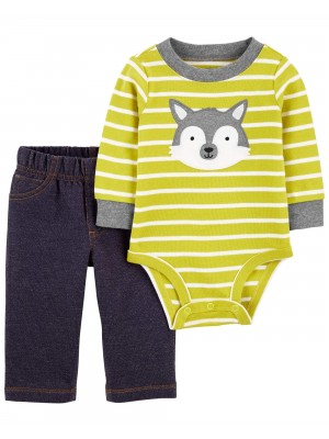 Carter's Set 2 piese bebelus pantaloni si body Husky