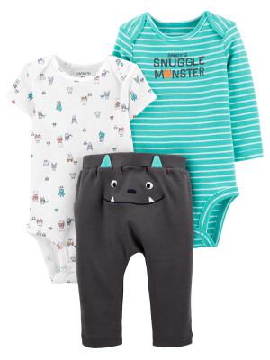 Carter's Set 3 Piese bebe 2 body si pantaloni Monstrulet