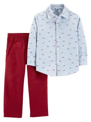 Carter's Set 2 Piese Elegant cămașă și pantaloni 100% bumbac