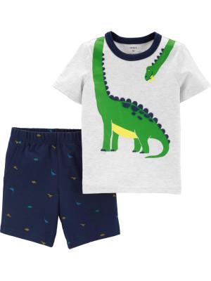 Carter's Set 2 Piese Dinozaur tricou & pantaloni scurți 100% bumbac