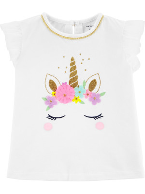 Carter's Tricou cu unicorn și sclipici