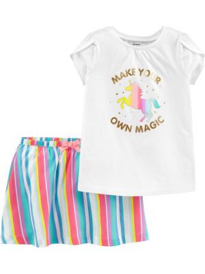 Carter's Set 2 piese Unicorn fustă & tricou