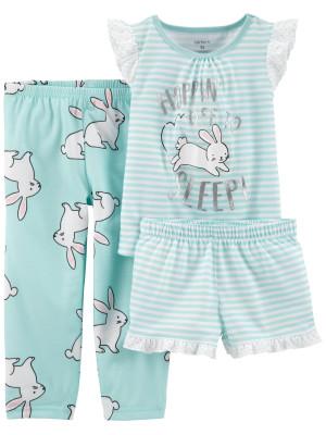 Carter's Set 3 Piese pijama tricou, pantaloni lungi si scurti Iepuras