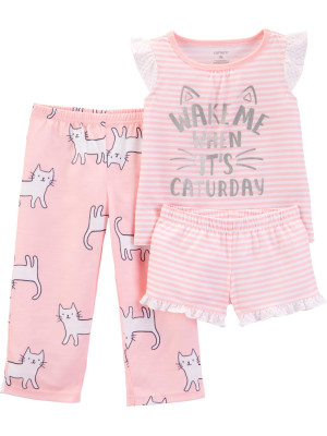 Carter's Set 3 Piese pijama tricou, pantaloni lungi si scurti Pisica