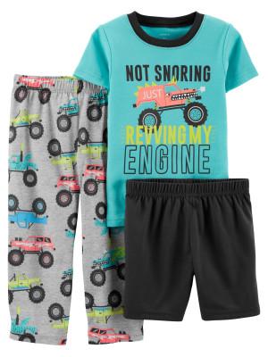 Carter's Set 3 Piese pijama tricou, pantaloni lungi si scurti Masina