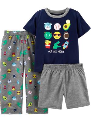 Carter's Set 3 Piese pijama tricou, pantaloni lungi si scurti Emoji