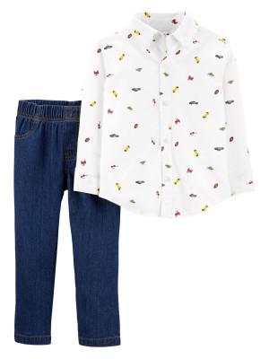 Carter's Set 2 piese pantaloni denim si camasa cu nasturi