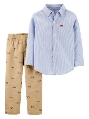 Carter's Set 2 piese pantaloni & cămașă cu dungi