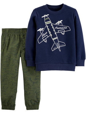 Carter's Set 2 piese bluză & pantaloni Avion