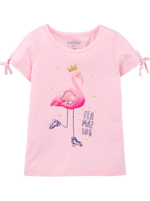 Oshkosh Tricou roz cu Flamingo