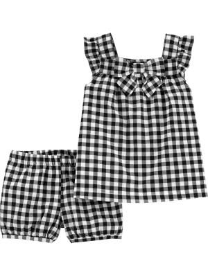Carter's Set 2 Piese pantaloni scurți și top alb/negru